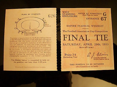 1933 F.A. Cup Final Ticket Everton v Manchester City Mint condition