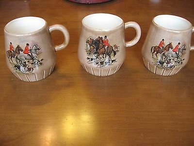 Loma Pottery Coffee Mugs Set Of 3 Fox Hunting Decals