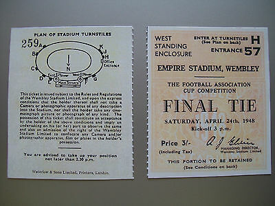 1948 F.A. Cup Final Ticket Manchester United v Blackpool Mint condition