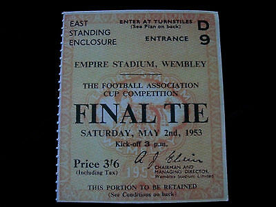 1953 F.A. Cup Final Ticket Blackpool v Bolton Wanderers mint condition.