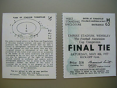 1957 F.A. Cup Final Ticket Aston Villa v Manchester United Mint condition