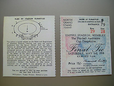 1958 F.A. Cup Final Ticket Manchester United v Bolton Wanderers Mint condition.