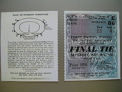 1952 F.A. Cup Final Ticket Arsenal v newcastle United Mint condition