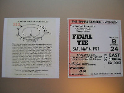 1972 F.A. Cup Final Ticket Arsenal v Leeds United mint condition.