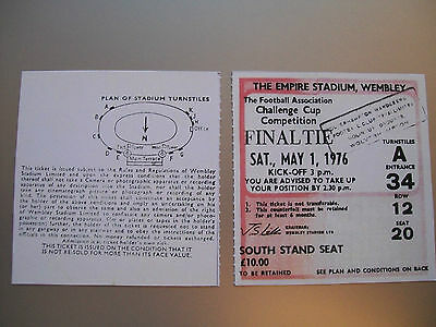 1976 F.A. Cup Final Ticket Manchester United v Southampton mint condition.