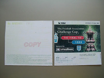 1996 F.A. Cup Final Ticket Manchester United v Liverpool mint condition.