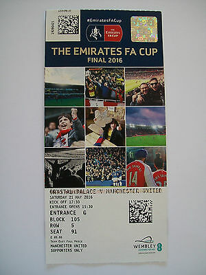 2016 F.A. Cup Final Ticket Manchester United v Crystal Palace rare miss print