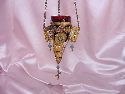 Antique Russian Religious Orthodox Church  Hang Altar Candle Lamp Jeweled Metal