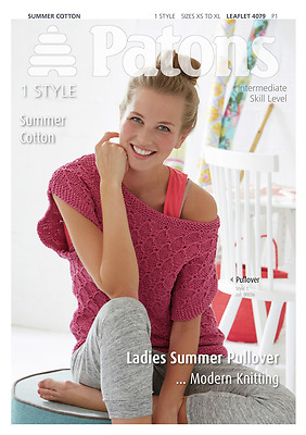 Patons Ladies Pullover Top Summer Cotton Knitting Pattern 4079