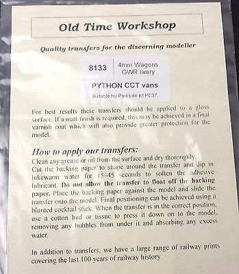 Old Time Workshop OO 4mm transfers 8133 GWR Python CCT van - Parkside kit PC37