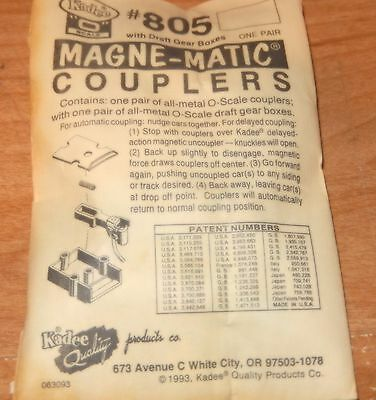 Kadee #805 -  'O' SCALE MAGNE-MATIC COUPLERS- ONE PAIR- NEW- FREE SHIPPING - W6