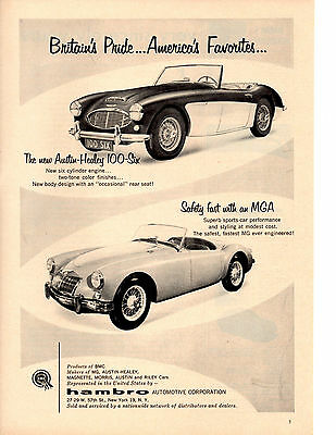 1957 Austin-Healey 100-Six & Mga ~ Original Hambro Automotive Print Ad