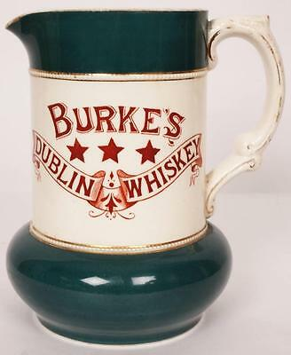 RARE WHISKY Water JUG 19th c Advertising Burke's Dublin Whiskey Fielding Pottery