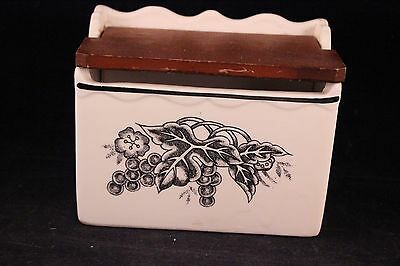 Vintage China Recipe Box With Hinged Wooden Lid & Index Dividers Inside
