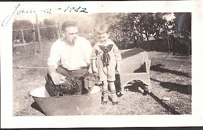 Vintage Photograph 1922 Huntington California Airedale Terrier Dog Boy Old Photo