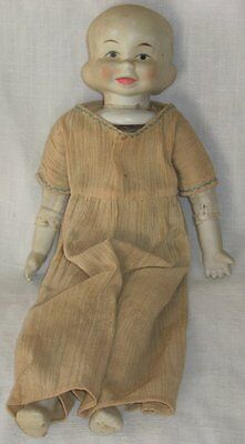 Vintage Baby Doll W/Three 3 Faces Bisque & Cloth Happy Sleepy Crying