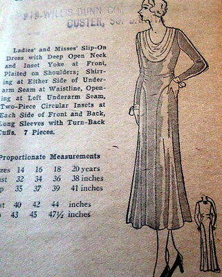 RARE VTG 1930s DRESS Sewing Pattern BUST 36 OLD DEADSTOCK