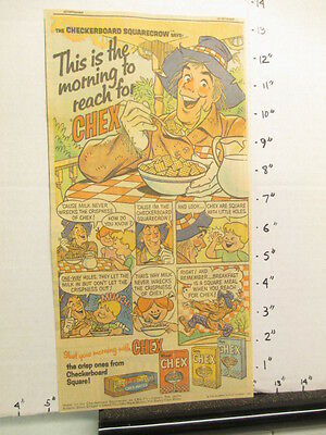 newspaper ad premium 1966 Ralston CHEX cereal box scarecrow comic THIS IS