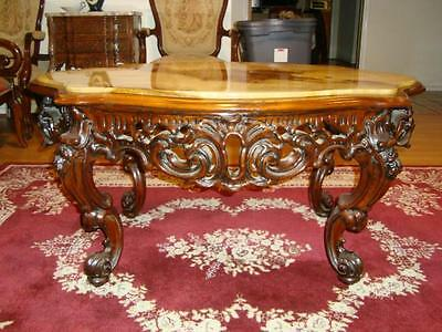 SUPERB Antique Hand Carved Coffee Table with Marble Top. GREAT Condition.