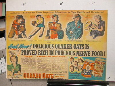 newspaper ad 1930s QUAKER OATS cereal box football basketball premium NERVE FOOD