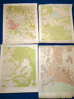 LOT 4 USGS Vintage Maps California Long Beach Hayward Lake