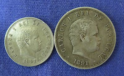 Portugal :1891 Carlos I Silver 200 and 500 Reis..gVF
