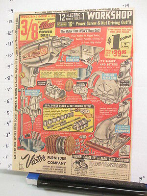 newspaper ad 1960s power tools Thor drill saw grinder polisher sander Victor