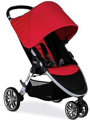Britax B-AGILE 3 Lightweight One Hand Fold Single Stroller Red New 2017
