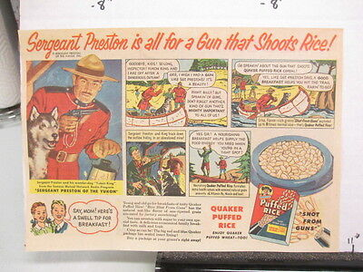 newspaper ad 1953 Quaker cereal box Sergeant Preston Yukon Mountie radio premium