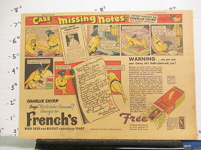 newspaper ad 1937 French's bird seed food bisquit canary Charlie Chirp comic