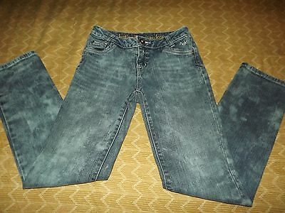 GIRLS JUSTICE SIMPLY LOW SKINNY FIT FADED LOOK DENIM JEANS sz 12S