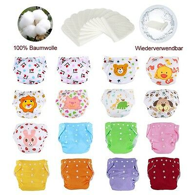 5 Diaper +5 Inserts Adjustable Reusable Lot Baby Washable Cloth Diaper Nappies