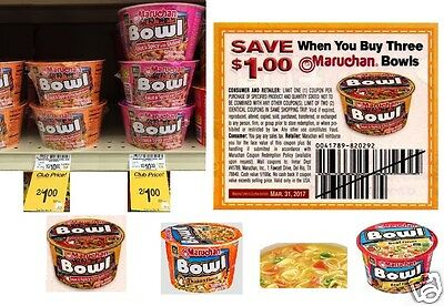 $AVE $25 w25 Coupons $1.00 off three any Maruchan Bowl products gd thru 03/31/17