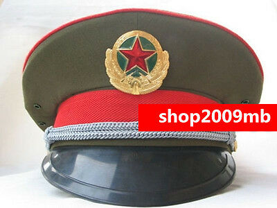 59cm Collectable Military officer Captain's Visor Hat Chinese Communist Army Cap