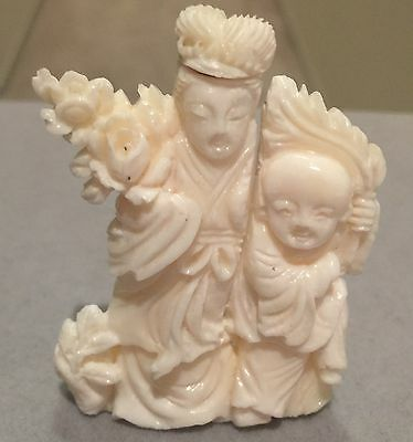 Antique Chinese Carved White Coral Figure Snuff Bottle