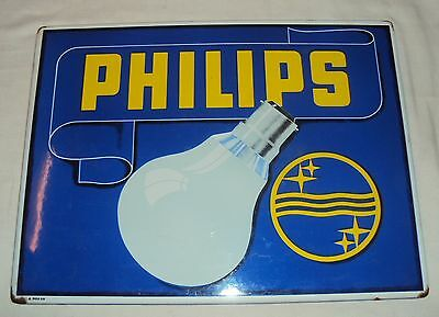 Vintage Philips Bulb Porcelain Enamel Sign Rare Old Original 1920's #