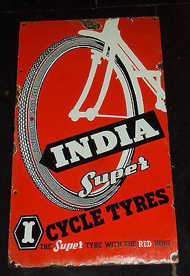 India Super Cycle Tires Vintage Porcelain Enamel Sign Rare Collectible 1940