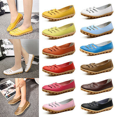 Women Casual Soft Peas Leather Slip On Flat Shoes Loafer Hollow Weaving Shoes