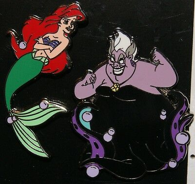 DISNEY Little Mermaid Ariel and Ursula 2 Pin Set Pin NEW ON ORIGINAL CARD