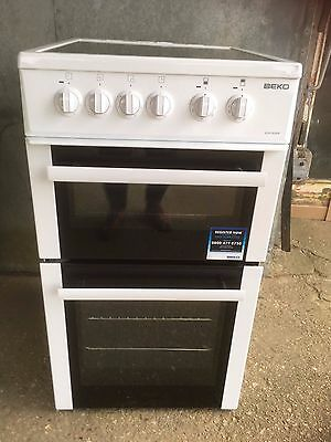Beko bdvc563aw White Double Oven Ceramic Hob Cooker 50cm wide
