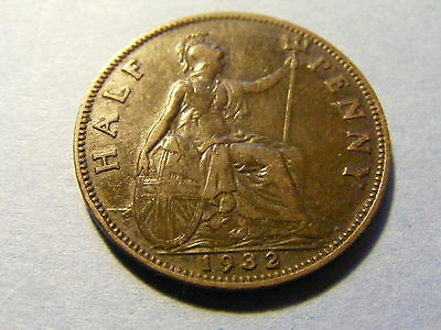 1932 George V Half Penny Coin  - Nice Condition -
