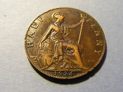 1924 George V Half Penny Coin  - Nice Condition -