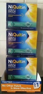 NiQuitin Clear 21mg Patch Nicotine step 1  Patches New 3 x 14 patches, 42 days