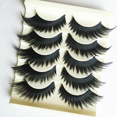5 Pairs 3D Cross Thick Long False Eyelashes Stage Makeup Fake Eye Lashes Exotic