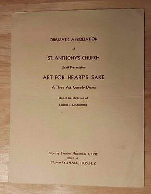 Vintage 1932 Play Program ART FOR HEARTS SAKE St Anthony's Mary's Church Troy NY