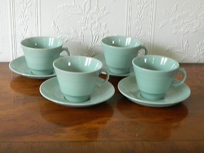4  Wood's Ware 'beryl'  Cups And Saucers