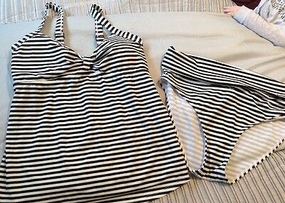 Jojo Maman Bebe Maternity Bikini Swimwear Small Striped Black And White