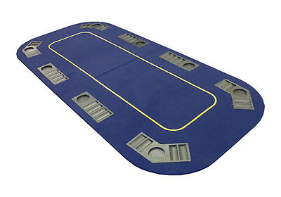 JP Commerce Texas Hold'em Folding Table Top with Cup Holders Blue