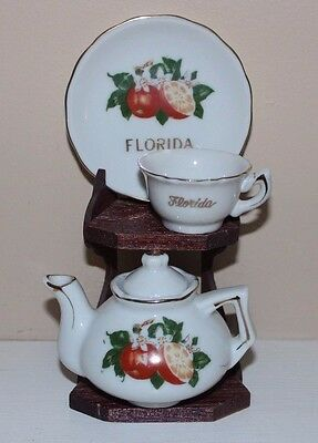 Vintage Souvenir FLORIDA Mini Cup & Saucer & Teapot w Stand FREE SHIPPING