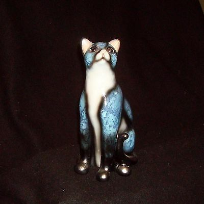 Blue-Gray and Black Porcelain Collectible Cat Figurine